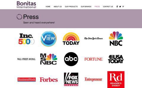 Screenshot of Press Page bonitasinternational.com - PRESS   bonitasinternational - captured Nov. 3, 2019