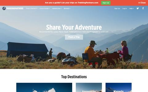 Screenshot of Home Page trekkingpartners.com - TrekkingPartners.com: Share Your Adventure - captured Sept. 19, 2014
