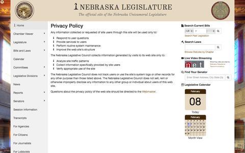 Screenshot of Privacy Page nebraskalegislature.gov - Nebraska Legislature - Privacy Policy - captured Feb. 8, 2016