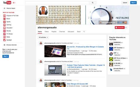 Screenshot of YouTube Page youtube.com - allenmorganaudio  - YouTube - captured Oct. 23, 2014
