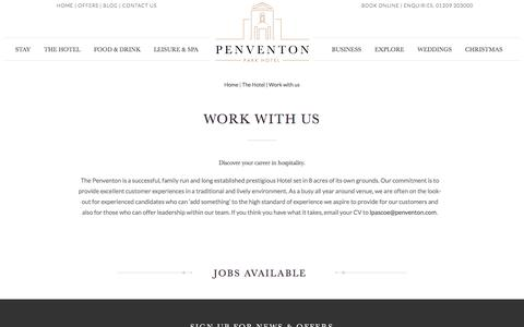 Screenshot of Jobs Page penventon.co.uk - Hotel Jobs In Cornwall | Work With Us | The Penventon Park Hotel - captured Jan. 27, 2016