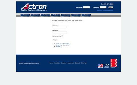 Screenshot of Products Page actronmfginc.com - Login - captured Feb. 5, 2016
