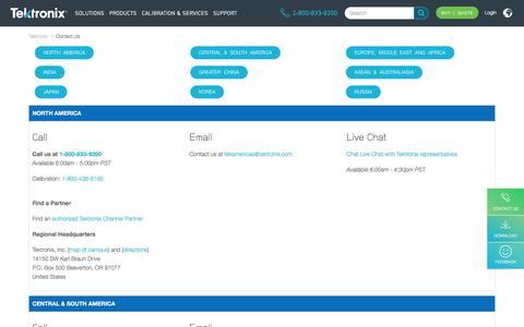 Screenshot of Contact Page tek.com - Contact Us | Tektronix - captured Jan. 13, 2020