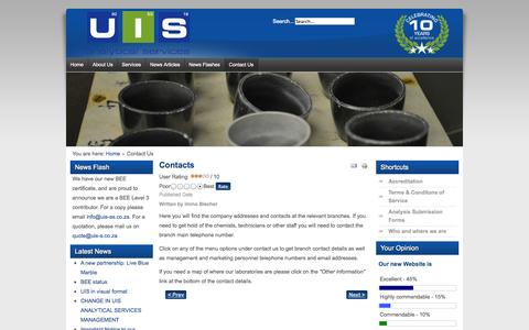 Screenshot of Contact Page uis-as.co.za - UIS Analytical Services - Contact Us - captured Oct. 3, 2014
