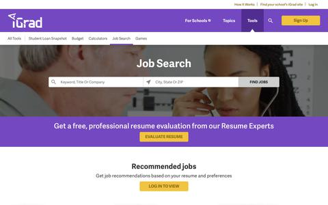 Screenshot of Jobs Page igrad.com - iGrad Job Search & Resume Help For College Students & Recent Graduates - captured April 10, 2018