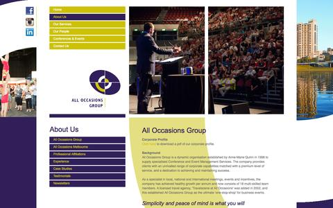 Screenshot of About Page alloccasionsgroup.com - About Us - All Occasions Group - captured Oct. 29, 2014