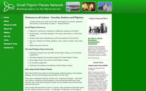 Screenshot of Home Page smallpilgrimplaces.org - Homepage of the Small Pilgrim Places Network - breathing spaces on the pilgrim journey - captured Oct. 9, 2015