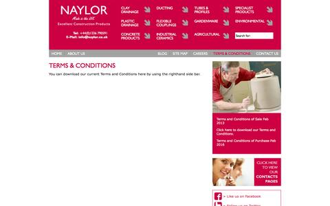 Screenshot of Terms Page naylor.co.uk - Terms and Conditions | Naylor - captured Feb. 16, 2016