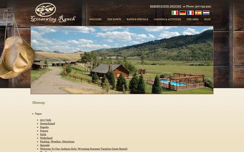 Screenshot of Site Map Page goosewingranch.com - Sitemap - captured July 16, 2016