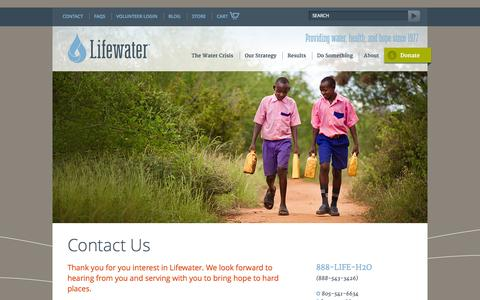 Screenshot of Contact Page lifewater.org - Contact Us - Lifewater International | A Non-Profit Christian Water Development Organization - Lifewater International | A Non-Profit Christian Water Development Organization - captured Oct. 3, 2014
