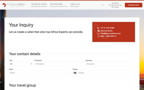 Screenshot of Contact Page discoverafrica.com - Contact Us | Discover Africa Safaris - captured June 23, 2018