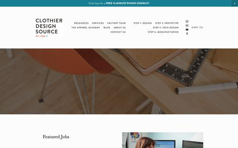 Screenshot of Jobs Page clothierdesignsource.com - Careers — Clothier Design Source - captured July 19, 2018