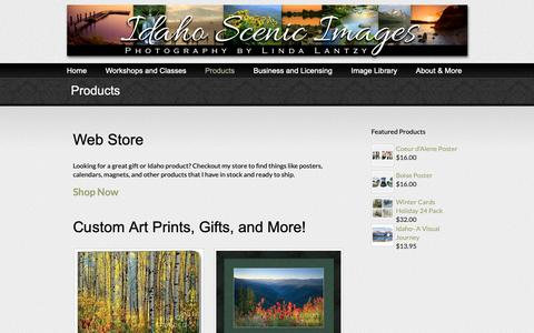 Screenshot of Products Page idahoscenics.com - Products - captured Oct. 11, 2018