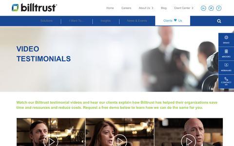 Screenshot of Testimonials Page billtrust.com - Client Testimonials | Billtrust - captured Jan. 9, 2017