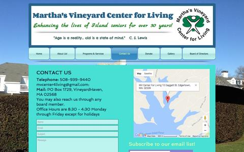 Screenshot of Contact Page mvcenter4living.org - Martha's Vineyard Center For Living | Contact Us - captured Nov. 27, 2016