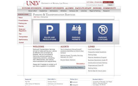 Parking & Transportation Services | University of Nevada, Las Vegas