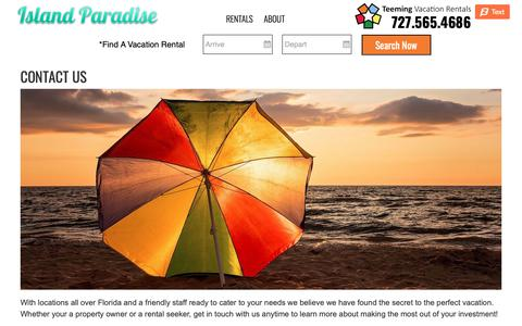Screenshot of Contact Page islandparadise.com - Contact Us - Island Paradise - Island Paradise - captured Oct. 13, 2018