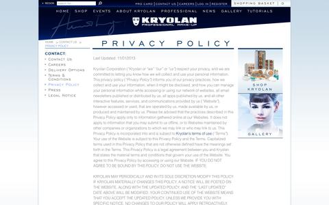 Screenshot of Privacy Page kryolan.com - Privacy Policy | Kryolan - Professional Make-up - captured Sept. 22, 2014