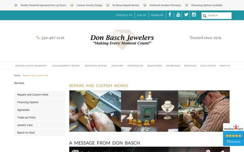 Screenshot of Services Page donbaschjewelers.com - Repairs and custom work  | Don Basch Jewelers - captured Dec. 19, 2018