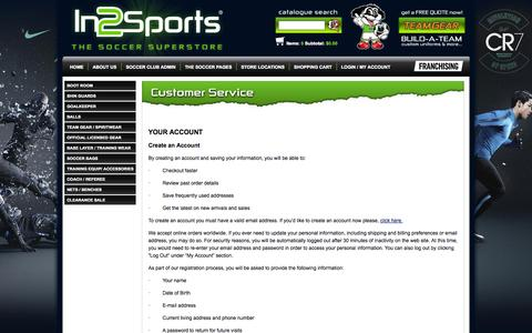Screenshot of Support Page in2sports.ca - Customer Service - Order Information - In2Sports - captured Nov. 3, 2014