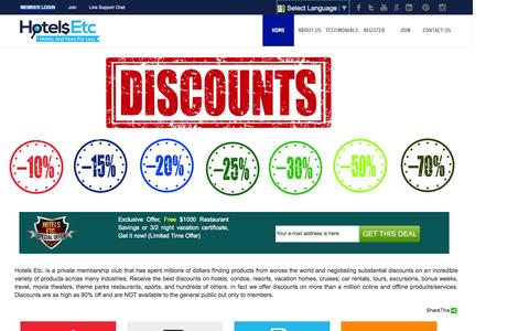 Screenshot of Home Page hotelsetc.com - Best Hotel Deals and Best Discounted Hotel Deals Online - captured Oct. 1, 2015