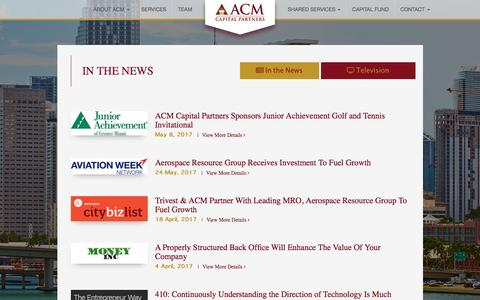 Screenshot of Press Page acmcapitalpartners.com - In the news | ACM - captured May 9, 2017