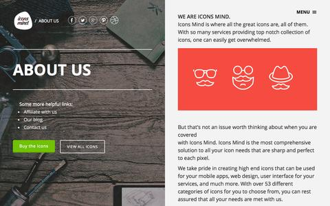 Screenshot of About Page iconsmind.com - Icons Mind is where all the great icons are, all of them. - captured Dec. 17, 2014