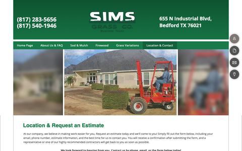Screenshot of Services Page simsgrass.com - Sims Grass Co. - location-n-contact - captured Nov. 26, 2018