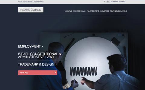 Screenshot of Home Page pearlcohen.com - Patents | Intellectual Property | International Law Firm | Pearl Cohen Zedek Latzer Baratz - captured Sept. 17, 2015