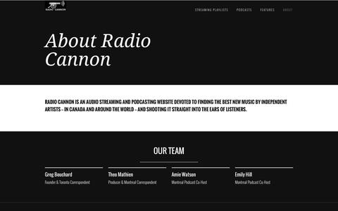 Screenshot of About Page radiocannon.com - About Radio Cannon - captured Oct. 27, 2014