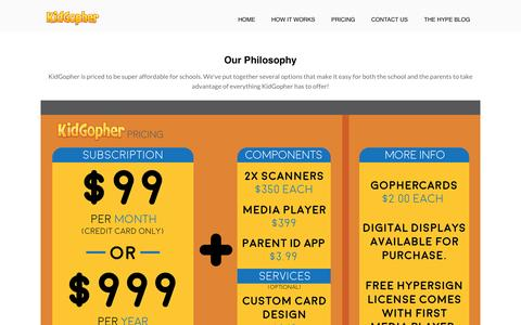 Screenshot of Pricing Page kidgopher.com - KidGopher Pricing - captured May 21, 2016