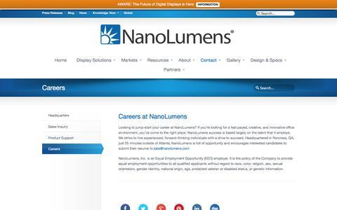 Screenshot of Jobs Page nanolumens.com - Careers NanoLumens - captured June 23, 2016