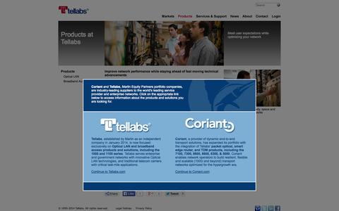 Screenshot of Products Page tellabs.com - Telecom Network Equipment | Business Network Equipment | Tellabs - captured Oct. 26, 2014