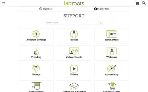 Screenshot of Support Page labroots.com - The LabRoots Support Hub: Navigating Our Website | LabRoots - captured May 9, 2017