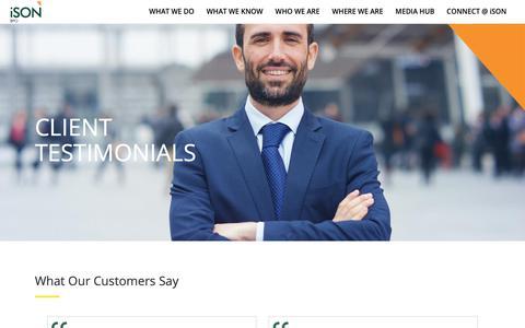Screenshot of Testimonials Page isonbpo.com - ISON BPO CUSTOMER TESTIMONIALS - captured Oct. 2, 2018