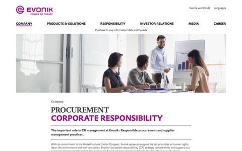 Evonik Industries - Specialty chemicals - Responsible procurement - Evonik Industries AG