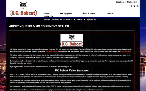 Screenshot of About Page kcbobcat.com - Bobcat Dealer MO & KS | Excavators, Skid-Steer Loaders | Rental Compact Equipment - captured Sept. 20, 2018
