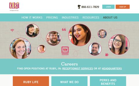 Screenshot of Jobs Page callruby.com - Career Opportunities | Send Your Resume to Ruby Receptionists - captured Aug. 18, 2018