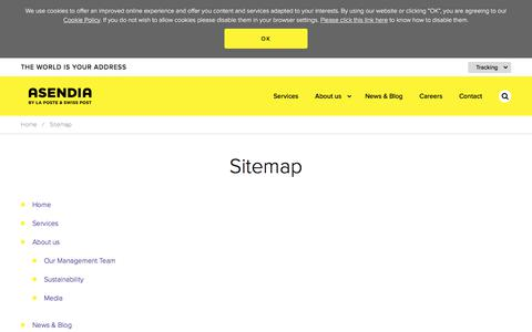 Screenshot of Site Map Page asendia.com - Asendia :: Sitemap - captured July 11, 2018