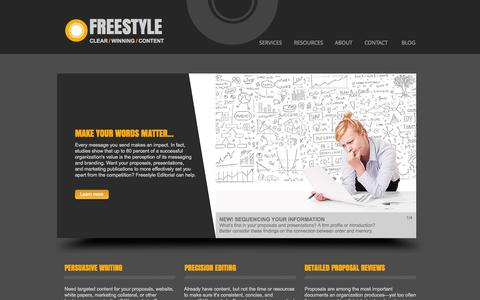 Screenshot of Home Page freestyleservices.com - Freestyle Editorial - captured Oct. 6, 2014