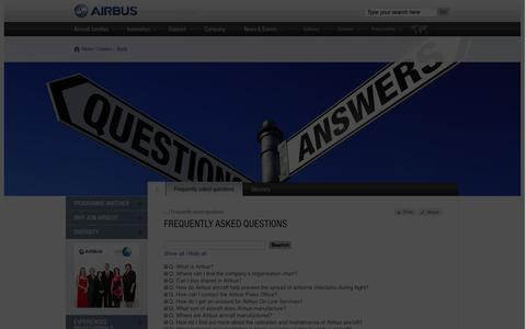Screenshot of FAQ Page airbus.com - Frequently asked questions  Airbus, a leading aircraft manufacturer - captured Sept. 18, 2014