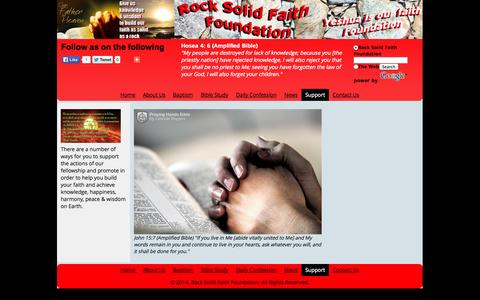 Screenshot of Support Page rocksolidfaithfoundation.org - Support - Rock Solid Faith Foundation - captured Oct. 29, 2014