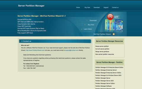 Screenshot of Contact Page server-partition-manager.com - Server Partition Manager Reseller Center: Become a reseller. - captured March 9, 2016