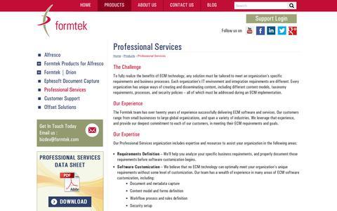 Screenshot of Services Page formtek.com - Professional Services for Enterprise Content Management (ECM) | formtek - captured July 13, 2018