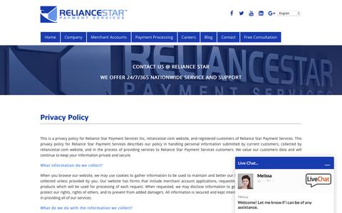 Screenshot of Privacy Page reliancestar.com - Privacy Policy - Reliance Star Payment Services - captured Feb. 9, 2017