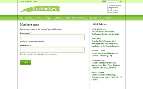 Screenshot of Login Page ecovisionlaw.ca - Member's Area | Ecovision Law - captured Sept. 29, 2014