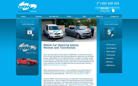 Screenshot of Testimonials Page wowwash.com.au - Wow Car Wash | WOW Wash Mobile Car Wash and Detailing Sydney - captured July 29, 2018
