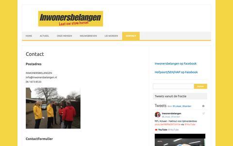 Screenshot of Contact Page inwonersbelangen.nl - Contact - Inwonersbelangen - captured Nov. 6, 2018