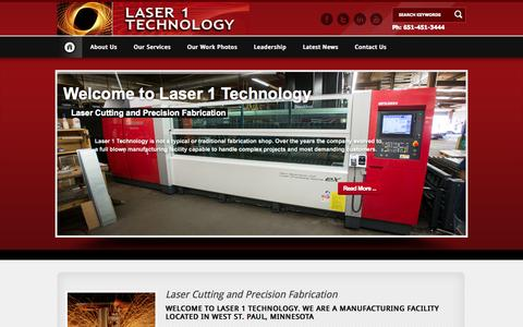 Screenshot of Home Page laser1tech.com - Minneapolis Laser Cutting | Fabrication & Manufacturing | St Paul Mn - captured Oct. 1, 2014