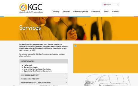 Screenshot of Services Page kgcosmopolitan.com - Services | KGC - Kneissler Global Cosmopolitan - captured Feb. 12, 2016
